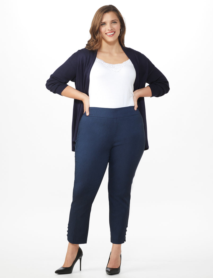 Plus  Superstretch Pull On Ankle Pant with Rhinestone Ring Trim - Plus Dark denim