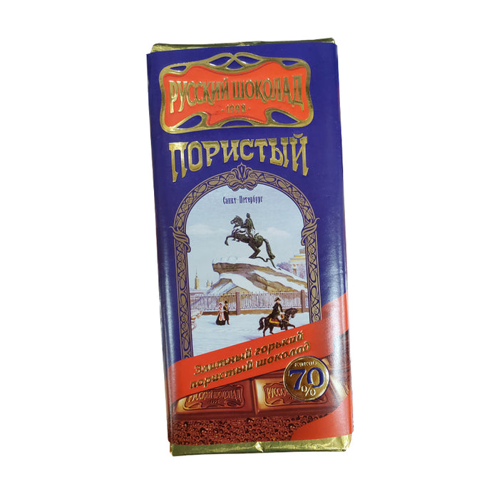 RUSSIAN CHOCOLATE BITTER 70% AERATED 90G