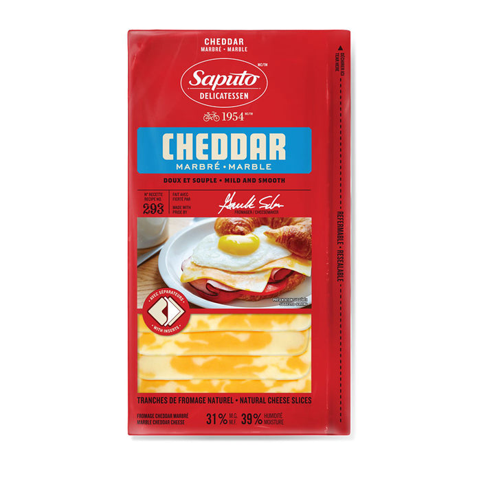 SAPUTO 180G PACKAGED CHEESE CHEDDAR MARBLE SLICED