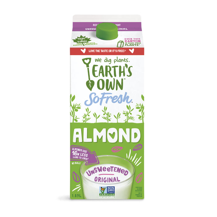 EARTH'S OWN SO FRESH ALMOND UNSWEETENED ORIGINAL 1.89L