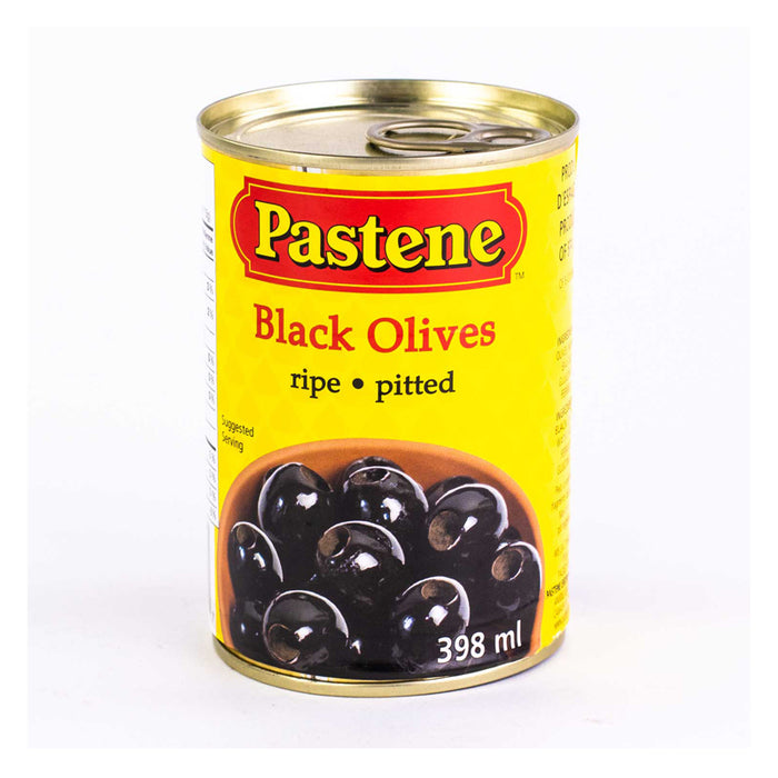 PASTENE PITTED BLACK OLIVES 398ML