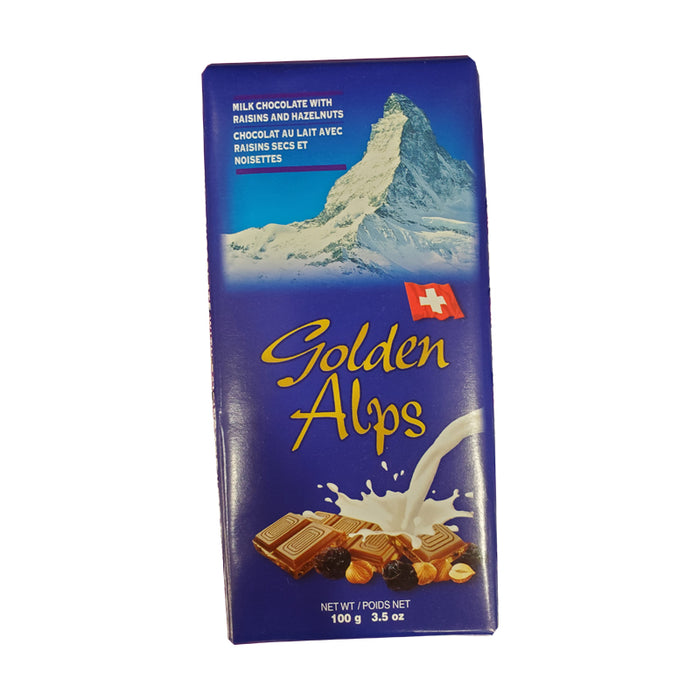 GOLDEN ALPS MILK CHOCOLATE WITH RAISINS AND HAZELNUTS 100G
