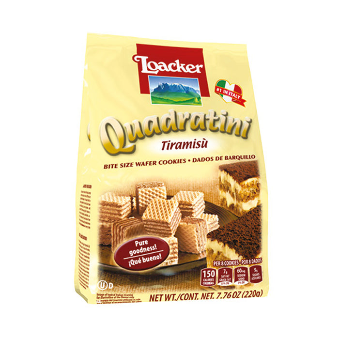LOACKER QUADRATINI TIRAMISU 220G WAFERS