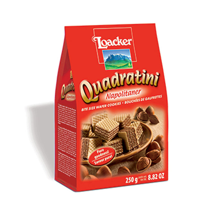 LOACKER QUADRATINI HAZELNUTS 250G WAFERS