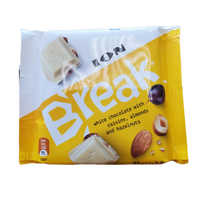 ION BREAK 85G CHOCOLATE WHITE WITH RAISINS, ALMONDS AND HAZELNUTS