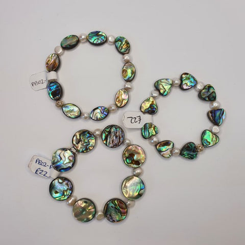 Beautiful Paua Shell & Freshwater Pearl Bracelet - by Mhairi Sim - Girl Paua