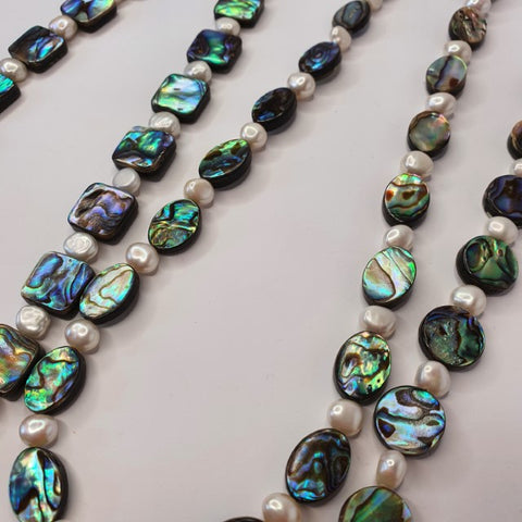 Beautiful Paua Shell & Freshwater Pearl Necklace - by Mhairi Sim - Girl Paua