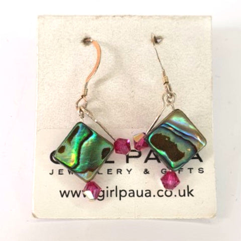 Paua Shell and Swarovski Crystal Earrings - by Mhairi Sim - Girl Paua