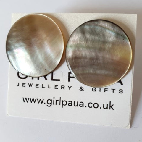 Mother of Pearl Stud Earrings - by Mhairi Sim - Girl Paua