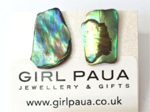 Paua Shell Natural Shape Stud Earrings - by Mhairi Sim - Girl Paua