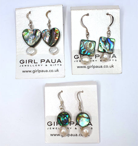 Paua Shell and Freshwater Pearl Earrings - by Mhairi Sim - Girl Paua