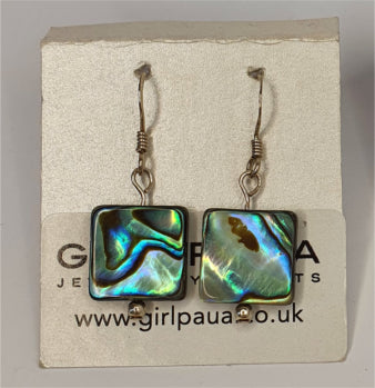 Paua Shell and Silver Bead Earrings - by Mhairi Sim - Girl Paua