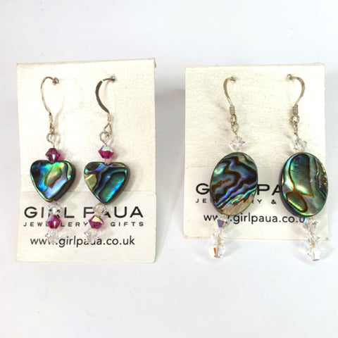 Paua Shell Swarovski Crystal Earrings - by Mhairi Sim - Girl Paua