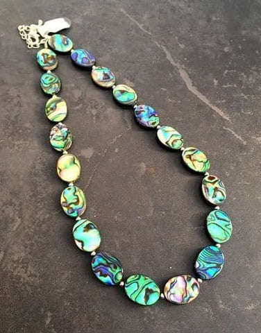 Beautiful Paua Shell & Silver Ball Necklace - by Mhairi Sim - Girl Paua