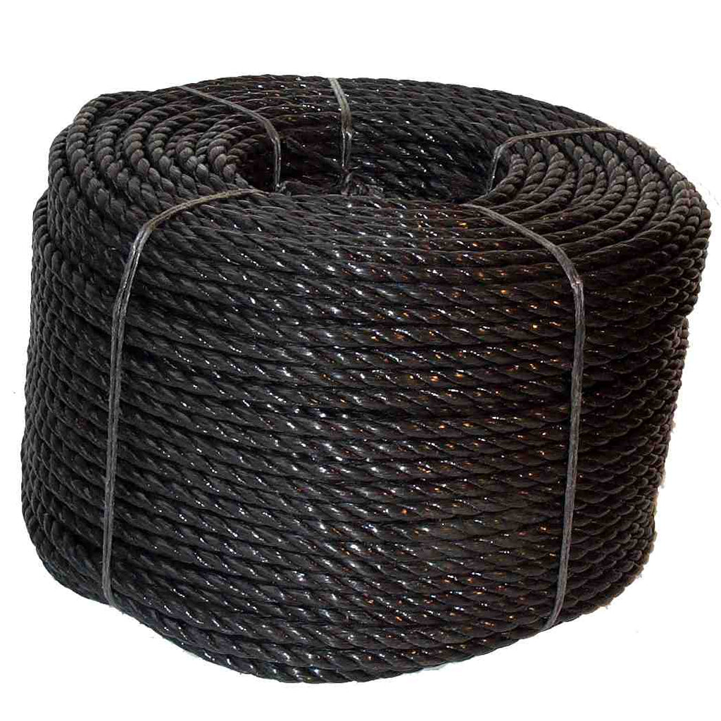 Coil Of Black Polypropylene Rope For Fender Makers Available In 10mm, 12mm and 14mm diameters