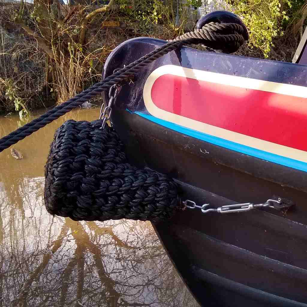 Bow Of Narrowboat Bosley With V Bow Fender Attached With Shackles And Turnbuckles