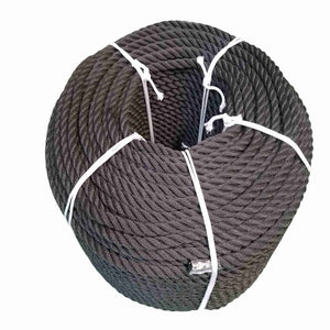 Coil Of Black 14mm Mooring Rope For Canal Boats