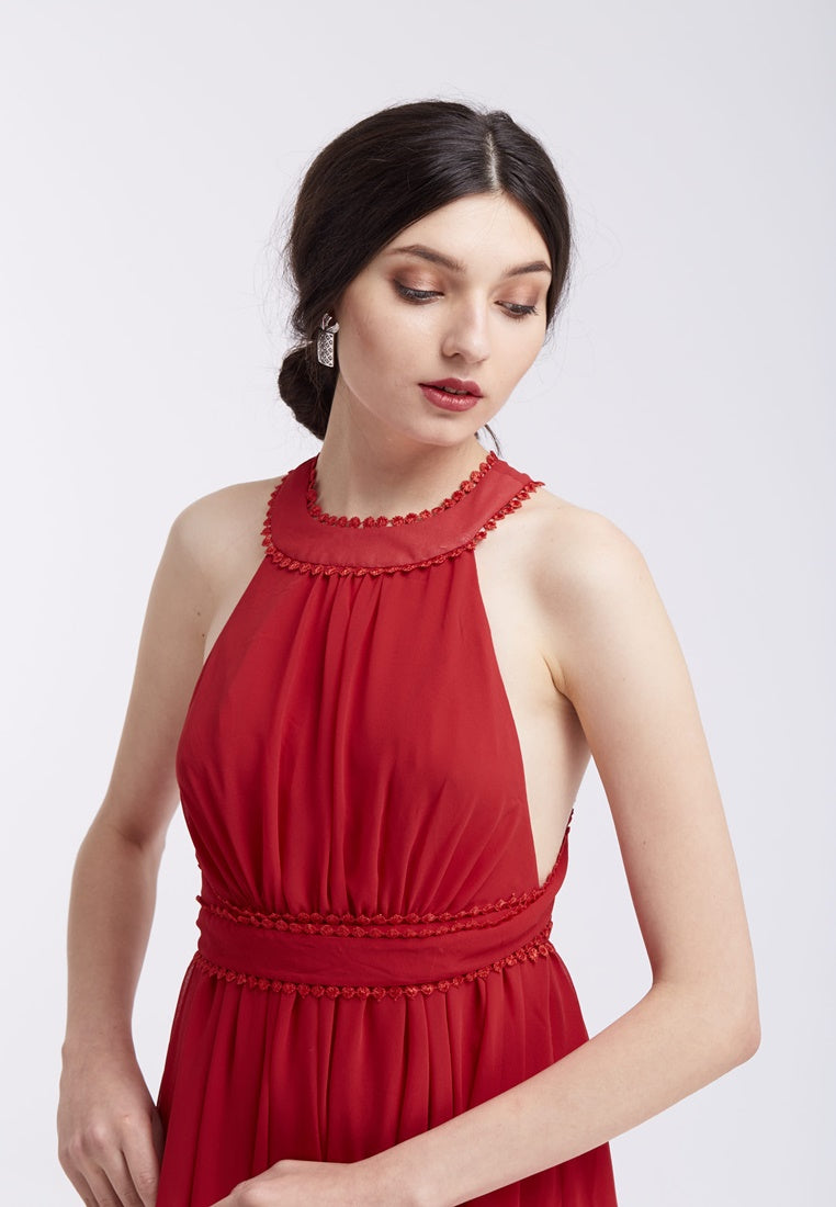 Chiffon Camisole Blouse Dress - Red