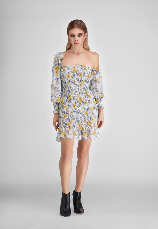 Flower Pullover Dress  - Blue