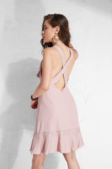 Pleated Heart Neck Crumbs Sundress  - Pinkround