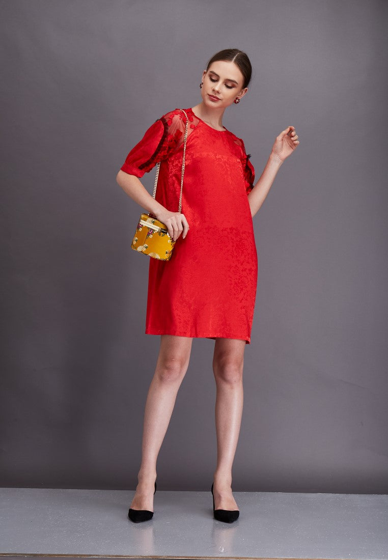 Raglan Lace With Pleated Mesh Dress  - Red