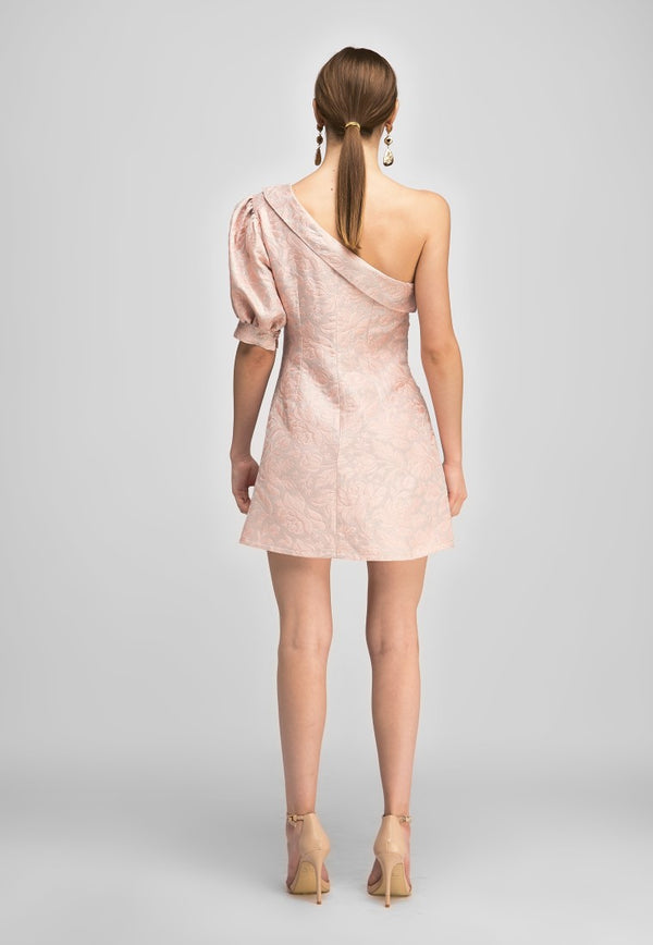 Pattern 1 Shoulder Duck Neck Dress  - Nude