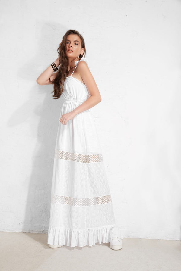 Strings Lace 2 Floor Sundress  - White