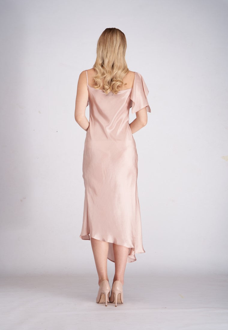 One Side Silver Silk Dress  - Nude