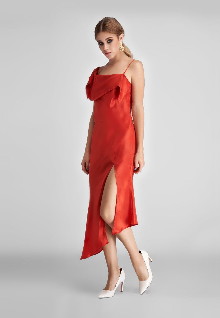 One Side Silver Silk Dress  - Red