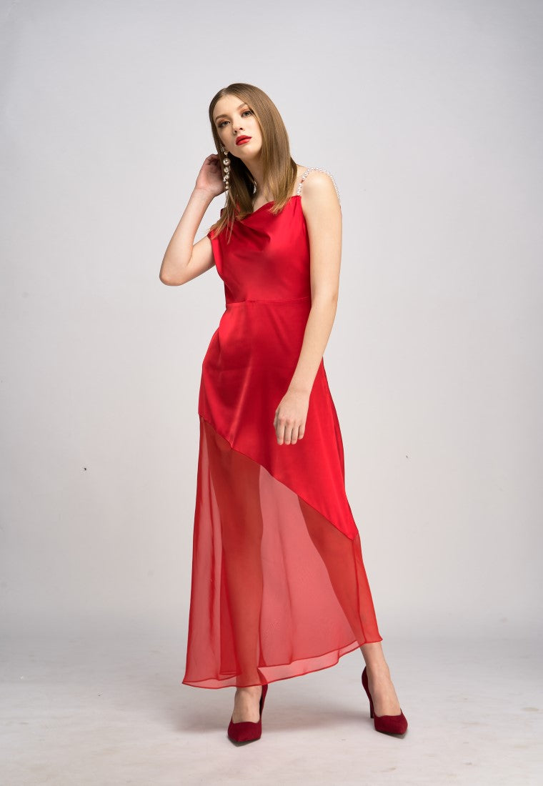 Sliding Shoulder  Silk Dress  - Red