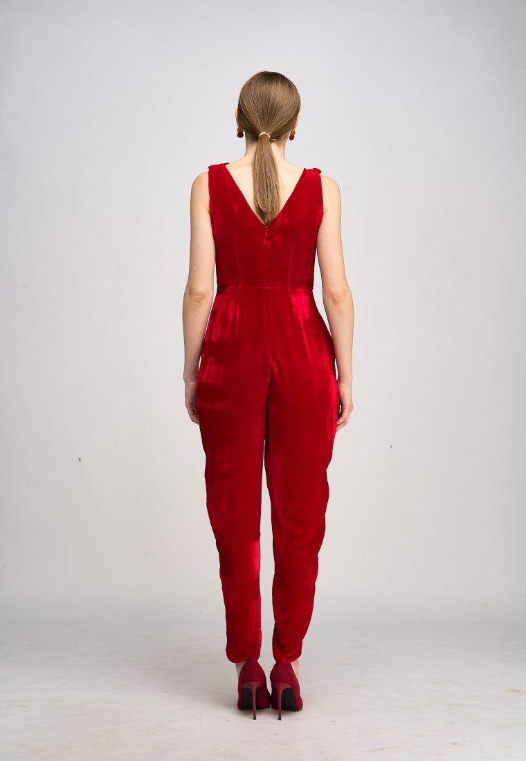 Barege Jumpsuit  - Red