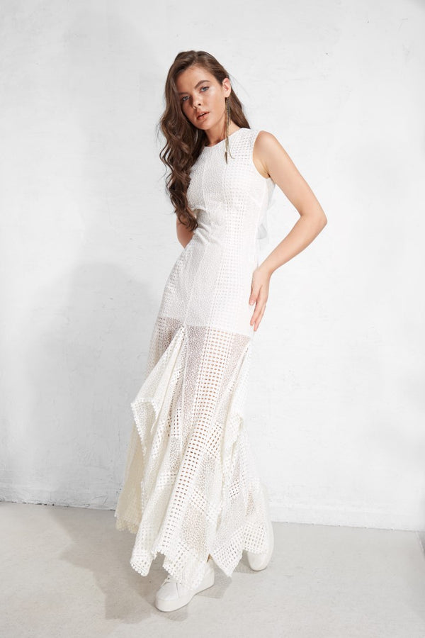 Lace Fabric Backleck Sundress  - White