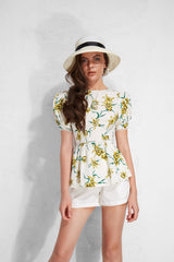 Linen Peplum Cut Out Back Shirt  - White