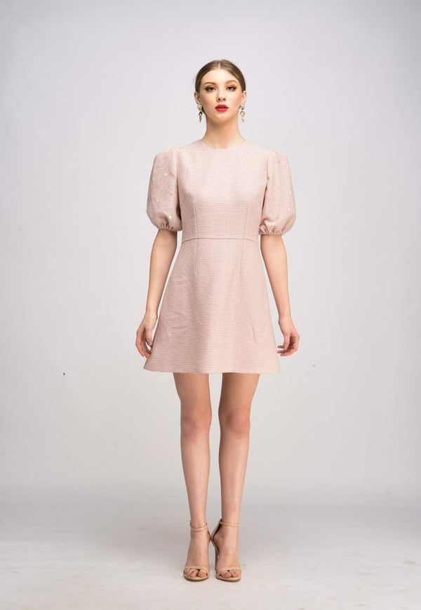 Hand Puffed Trapeze Dress  - Nude