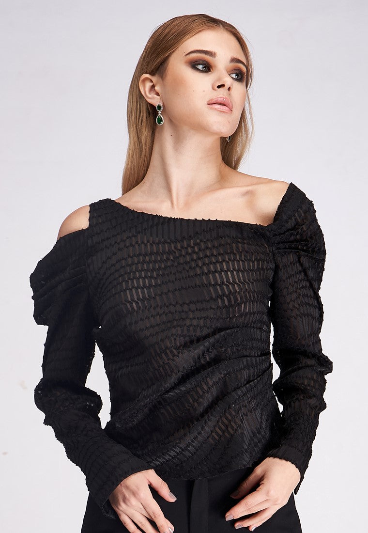 Long Sleeve Lace Cut Out Shirt - Black