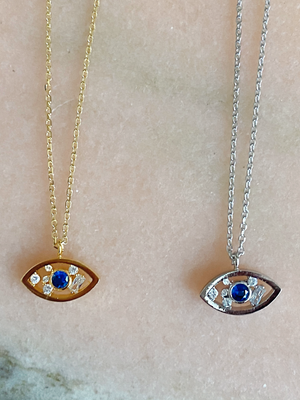 Load image into Gallery viewer, Blue Eyes Evil Eye Necklace