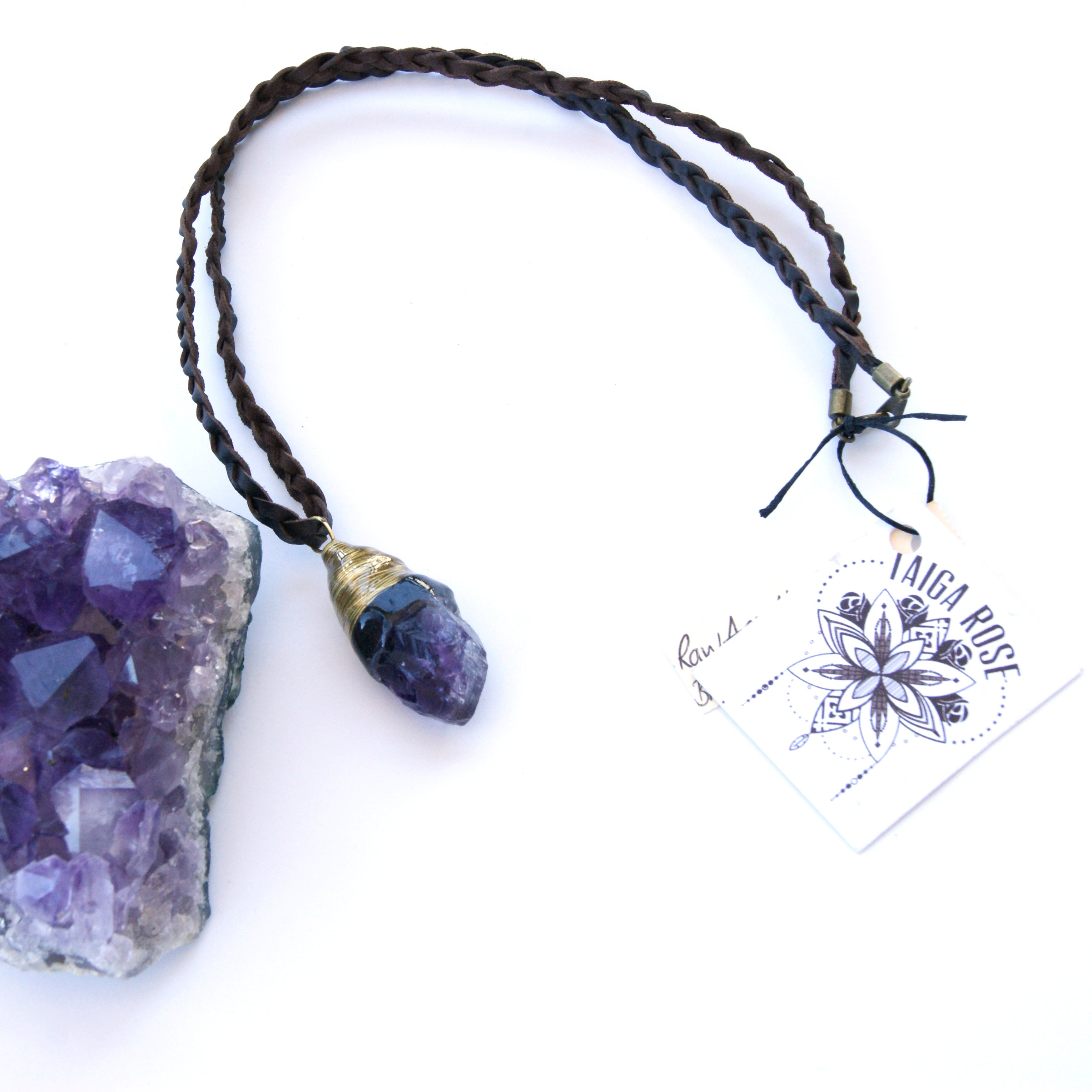hippie jewelry stone amethyst birth purple february necklace gemstone healing natural ori raw details