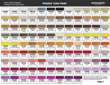 Load image into Gallery viewer, WonderFil Polyfast polyester sewing thread color chart 1