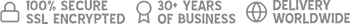 100% Secure SSL Encrypted, 30+ Years of Business, and Delivery Worldwide.