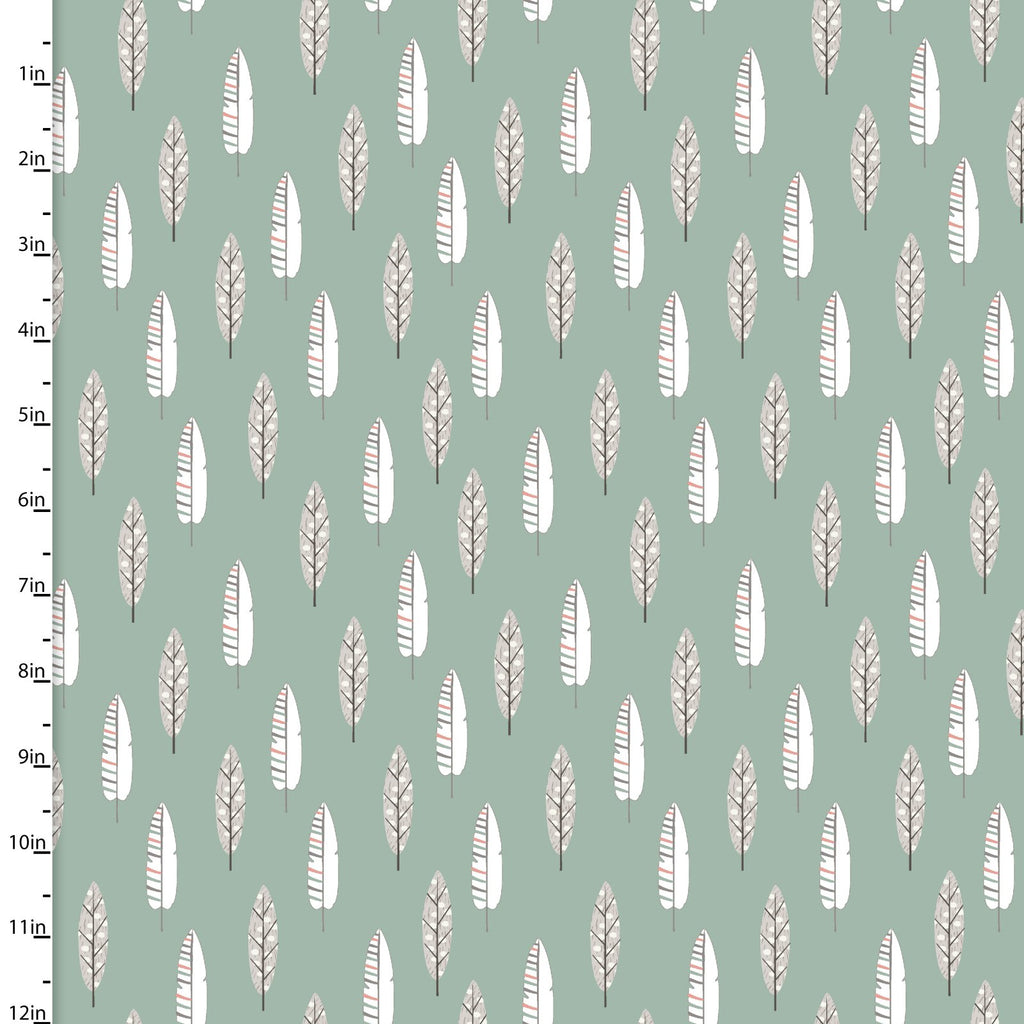 Little Ones, Feathers on Green, 3 Wishes Fabric, 100% Cotton Quilting Fabric Yardage 12048-Green-The Clever Quilt Shoppe