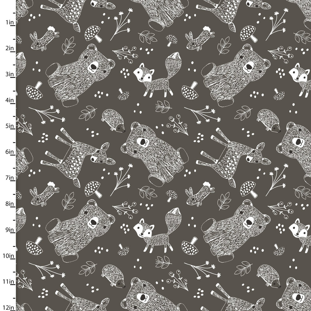 Little Ones, Animals on Charcoal, 3 Wishes Fabric, 100% Cotton Quilting Fabric Yardage 12049-Charcoal