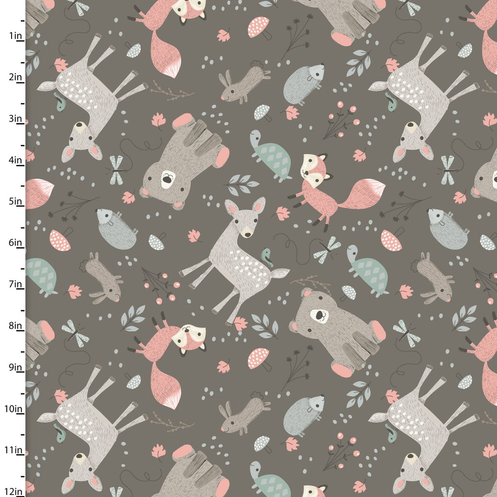 Little Ones, Animals on Gray, 3 Wishes Fabric, 100% Cotton Quilting Fabric Yardage 12054-Gray