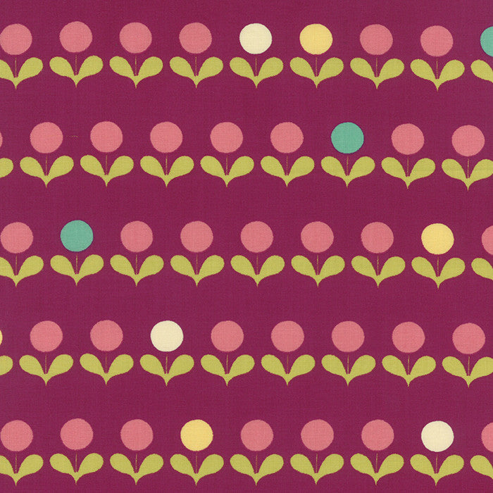 Quilting Fabric - Avant Garden Plum Geometric Mod Blooms Purple by MoMo for Moda