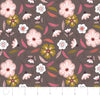 Quilting Fabric Yardage - Captivate Floral in Dark Taupe by Alisse Courter for Camelot Fabrics (100% Cotton, Quilting Fabric)