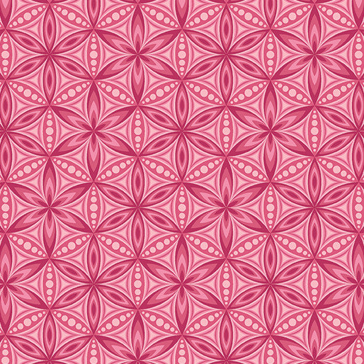 Quilting Fabric Yardage - Transformation Flower of Life Pink by Sarah Vedeler for Contempo Benartex (100% Cotton, Quilting Fabric)-The Clever Quilt Shoppe