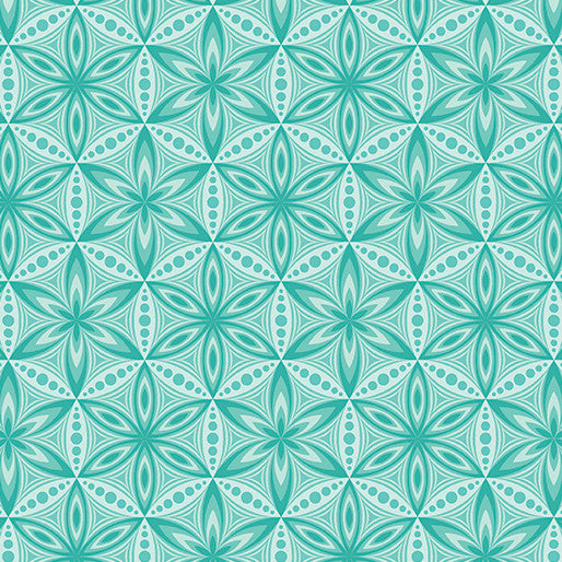 Quilting Fabric Yardage - Transformation Flower of Life Turquoise by Sarah Vedeler for Contempo Benartex (100% Cotton, Quilting Fabric)