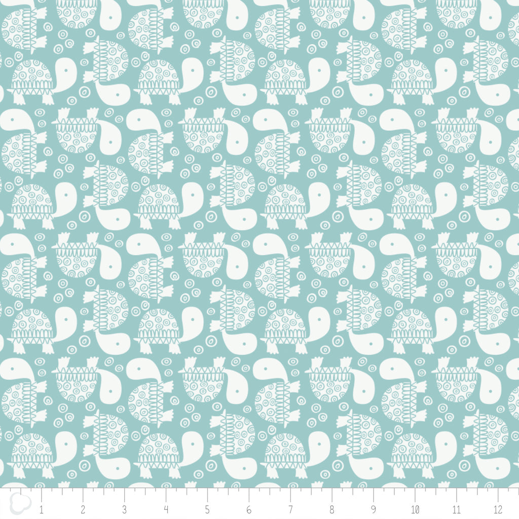 Turtles White / Teal, Wild One, Andrea Turk for Camelot Fabrics, 100% Cotton Quilting Fabric Yardage
