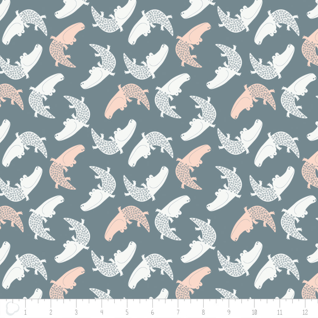 Crocodiles Pink on Gray, Wild One, Andrea Turk, Camelot Fabrics, 100% Cotton Quilting Fabric Yardage