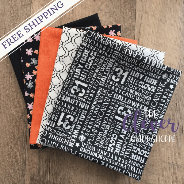 "Custom Halloween Fat Quarter Bundle, Misc Designers, 5 pcs Fat Quarters (18"" x 42"")-Custom Bundle-Misc-The Clever Quilt Shoppe"