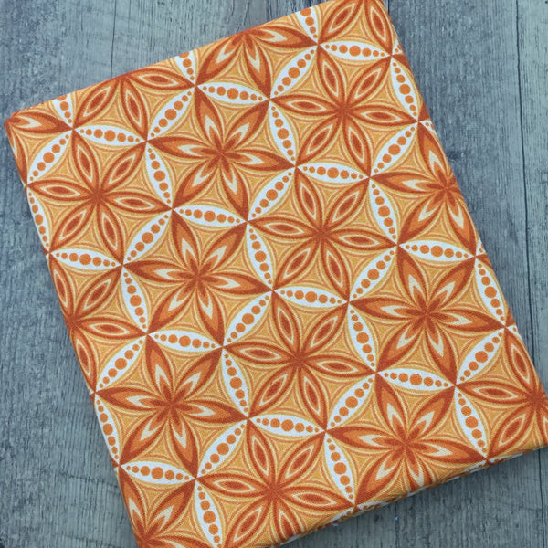 Quilting Fabric Yardage - Transformation Flower of Life Orange by Sarah Vedeler for Contempo Benartex (100% Cotton, Quilting Fabric)